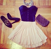 dress,navy,cute outfits,summer,summer dress,summer outfits,skater skirt,shirt,skirt,royal blue,corset top,flowy skirt,high heels,louis vuitton clutch,leopard print,cute,classy dress,blue,cream.,style,blouse,clothes,purse,shoes,crop tops,hair accessory,bag,strapless top