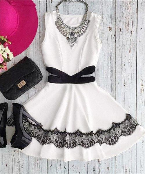 Casual Jewel Collar Sleeveless Waist Cut Out Lace Spliced Dress For Women