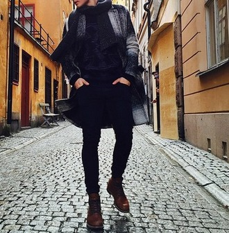 coat jacket black white great outfit ootd shoes jumper scarf boy menswear top