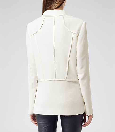 Georgie Cream Contrast Trim Jacket - REISS