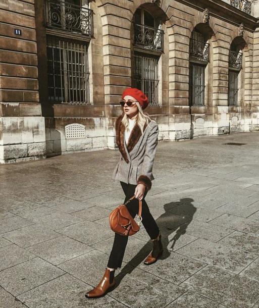 hat beret black jeans blazer grey blazer boots bag jeans