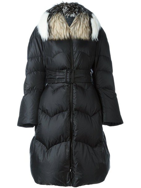 Ermanno Scervino coat oversized fur fox women black