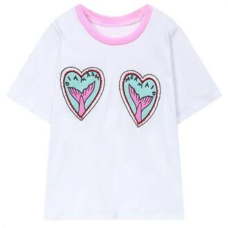 t-shirt white fashion style mermaid trendy summer spring heart boogzel