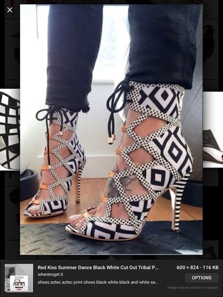 shoes black white tribal print shoe