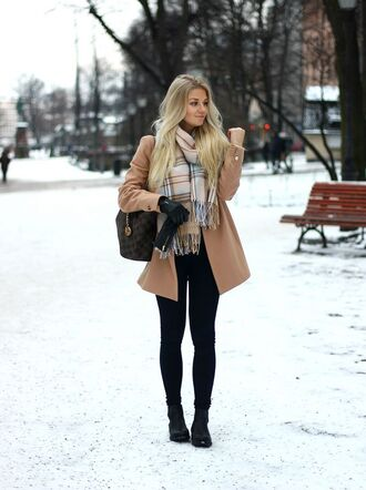 coat checkered scarf brown coat black jeans combat boots blogger