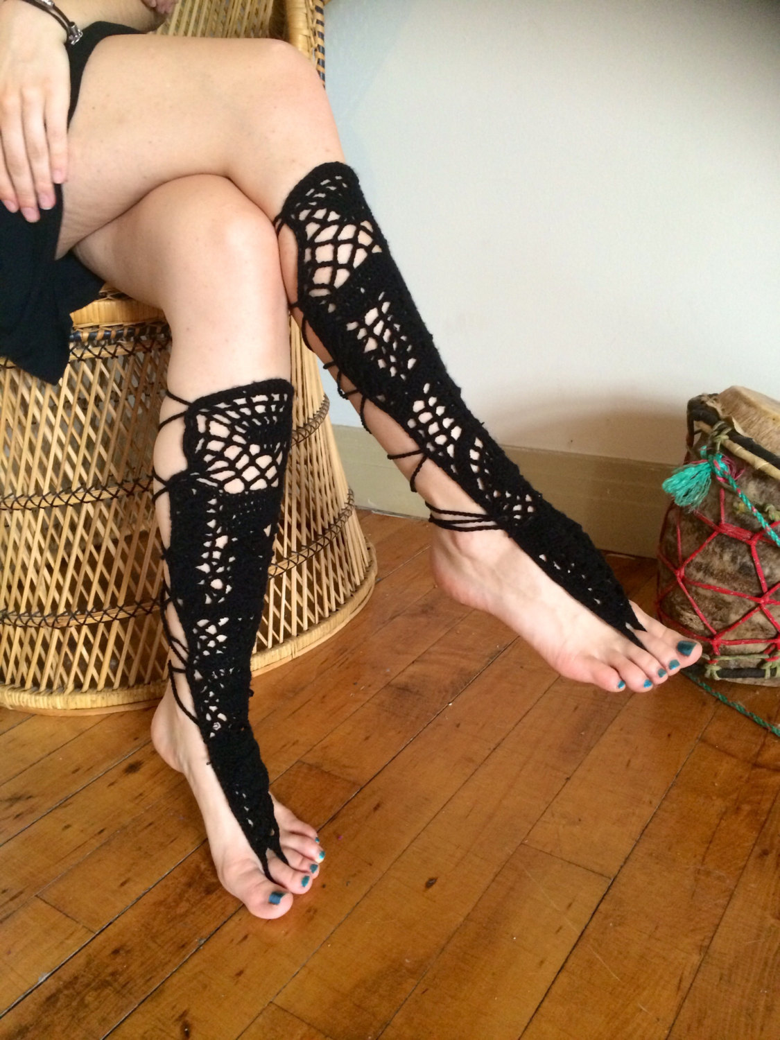 Black knee high barefoot sandals / leggings