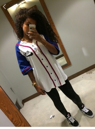 shirt white nike baseball shirt