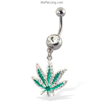 Ms.Piercing - Jeweled belly button ring with dangling cannabis leaf