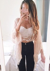 top,white,lace,cute,sexy,style,love,pretty,fringe kimono,kimono,pink,white lace top,pastel,high waisted