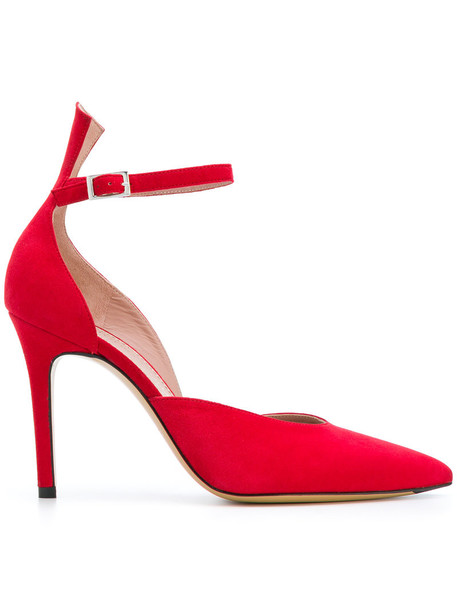 Antonio Barbato ankle strap women pumps leather suede red shoes