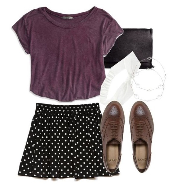 shirt purple puple top purple shirt skirt shoes chic style clothes jewels