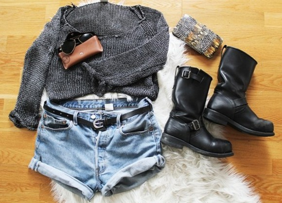 grey knitwear jumper feathers feather wallet clutch brown bag black bag skirt clothes sweater pullover hippie shorts shoes bag Belt sunglasses