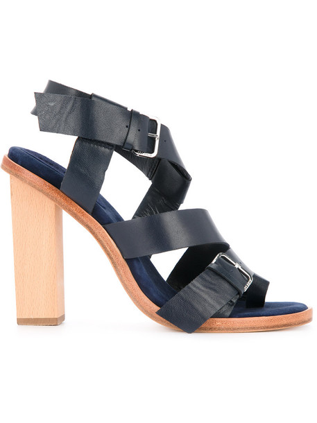 Dion Lee women sandals leather blue shoes