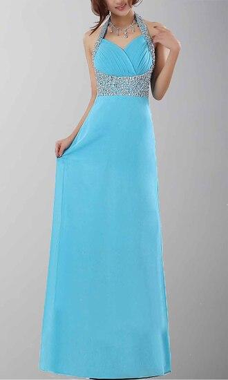halter dress light blue long prom dress long formal dress empire waist dress sequin prom dresses column formal dresses
