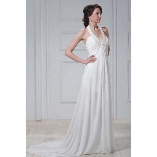 Dress: a-linie brautkleid, neckholder brautkleid, empire brautkleid ...