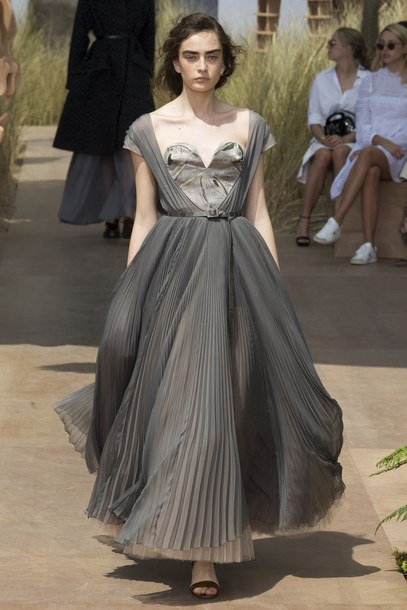 dress, gown, prom dress, bustier dress, grey, pleated, dior, fashion ...