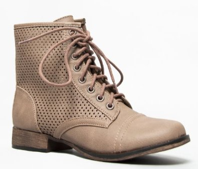 45 perforated cut out lace up combat ankle boot: combat bootie: shoes