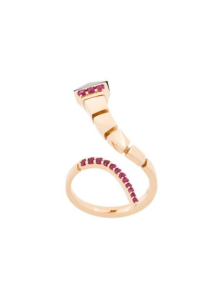 Anapsara rose gold rose women ring gold grey metallic jewels