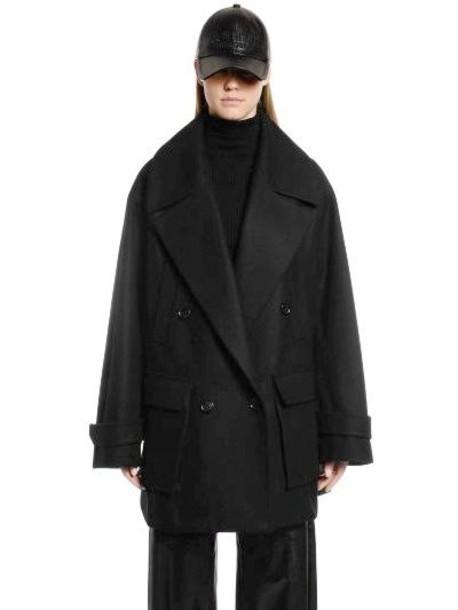 JUUN.J Oversized Wool & Cashmere Peacoat in black