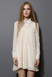 dress,pearl,3d,flowers,embroidered,chiffon,shirt