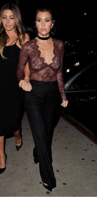 blouse lace lace top pants choker necklace kourtney kardashian see through sheer sexy