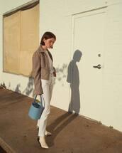 bag,blue bag,grey jacket,tumblr,double3xposure,handbag,jacket,denim,jeans,white jeans,boots,white boots