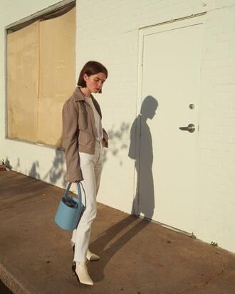 bag blue bag grey jacket tumblr double3xposure handbag jacket denim jeans white jeans boots white boots
