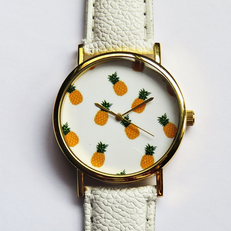 Tropical Fruit Pineapple Watch Vintage Style Leather by FreeForme