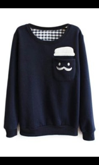 sweater blue sweater hipster moustaches cute kawaii fashion plaid moustache teenagers dark blue pocket t-shirt long sleeves warm warm sweater shirt checkered blue blue and white hipster cute top cute dress navy nude and navy  blue