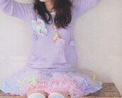 pastel,purple sweater,sweater,skirt