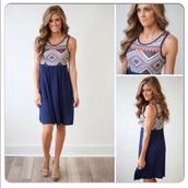 dress,navy blue aztec dress