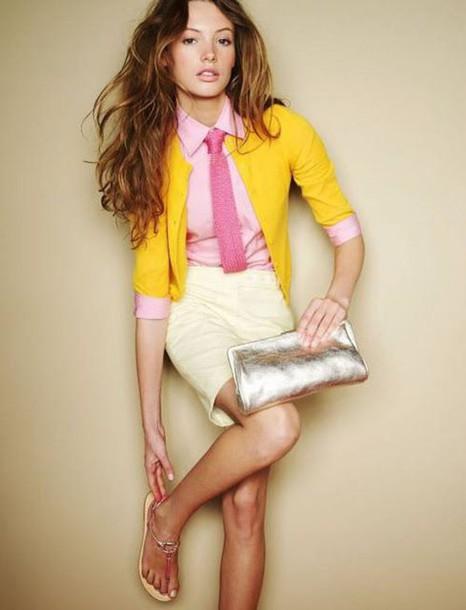 bag clutch metallic clutch skirt pencil skirt shirt pink shirt cardigan yellow cardigan sandals barefoot sandals spring outfits silver clutch