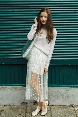 jewels bag blouse blogger iemmafashion see through polka dots sandals metallic