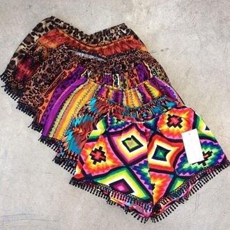 shorts tribal pattern bright