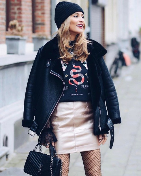 543f0dae81de jacket tumblr black jacket black leather jacket leather jacket skirt mini  skirt metallic metallic skirt gold
