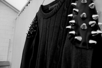 sweater blogger clothes pullover studs knitwear black goth pastel goth