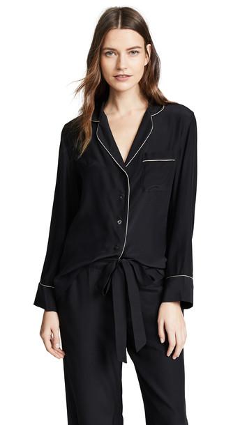 Kiki De Montparnasse Silk PJ Long Sleeve Top in black