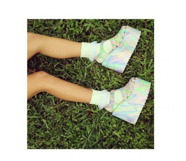 shoes platform shoes holographic holographic shoes kawaii platfor grunge high platforms silver