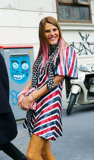 dress mini dress colorful streetstyle anna dello russo milan fashion week 2016 fashion week 2016 glitter dress stripes striped dress pink hair sequin dress
