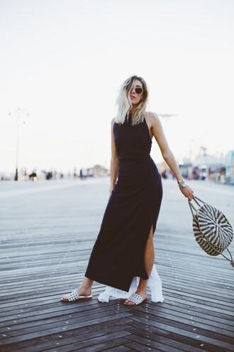 dress navy tumblr navy dress maxi dress long dress slit dress shoes slide shoes bag round tote tote bag