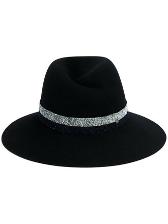 women hat fedora blue wool
