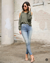 shoes,sandals,high heel sandals,skinny jeans,high waisted jeans,sweater,aviator sunglasses