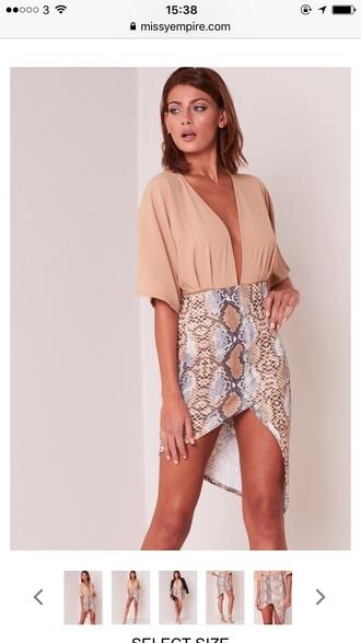 skirt snake print asymmetrical skirt