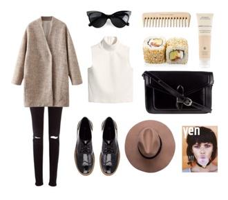 coat black and white dress sunglasses oxfords
