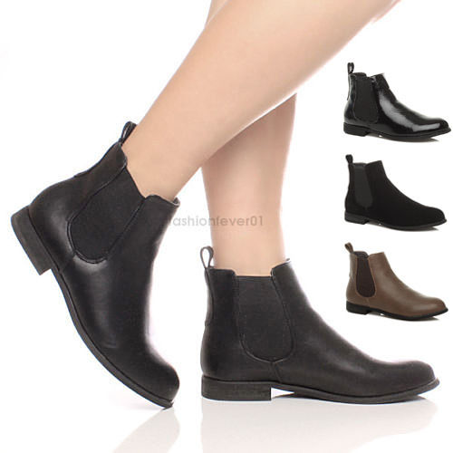 WOMENS LADIES CHELSEA STRETCH LOW HEEL PULL ON PIXIE ANKLE