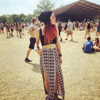 skirt bonnaroo luanna perez summer comfy maxi skirt split skirt le happy grunge fashion vintage cute beautiful crop tops cropped bra bralette festival hipster hippie gypsy rock perfect sweet urban girly 70s style beanie sunglasses indie garage coachella top instagram blogger boho outfit jewels dope sexy ombre hair pale bohemian spring spring outfits lace geometric double split