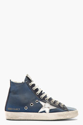 shoes,golden goose,blue,sneakers,blue distressed francy sneakers