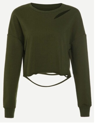 sweater olive green khaki crop tops crop cropped cropped sweater green ripped