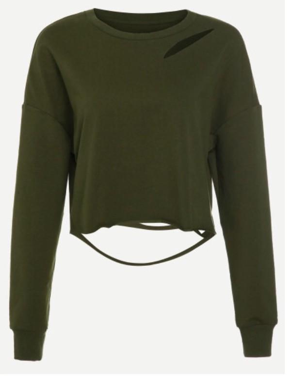 d55f0df4191 sweater olive green khaki crop tops crop cropped cropped sweater green  ripped.