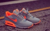 shoes,nike,nike sneakers,sneakers,air max,nike air max 90,nike shoes,nike air,grey,neon,orange,orange check,nike air maxes,just do it